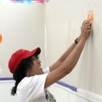 A volunteer in action.