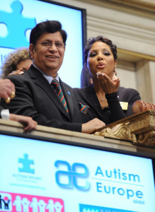 Toni Braxton Celebrates World Autism Day at the New York Stock Exchange in 2011 (with A.K. Abdul Momen)