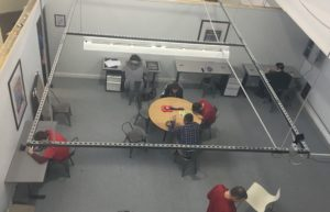 A bird's-eye view of the new tech room.