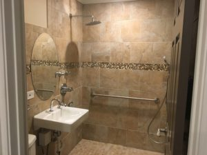 Accessible showers are a feature in the renovation.